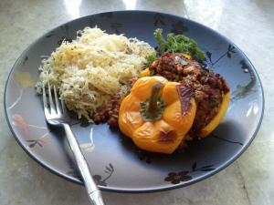 Stuffed Bell Pepper with Parmesan Spaghetti Squash - The Twofer