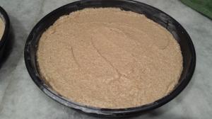Batter in Cake Pan - Pear Upside Down Cake