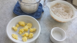 Into the mixer - dough ingredients