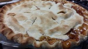 Caramel Bourbon Peach Pie
