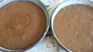 Filling the cake pans - Boozy Tres Leches